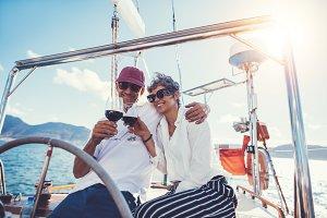 Senior couple enjoying wine