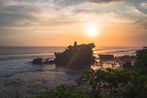 Tender sea view sunset near Tanah Lot temple , Bali.