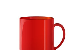 Glossy red cup on white