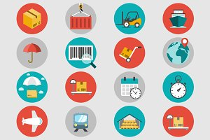 Logistic flat icons set