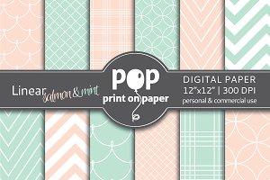 Linear Mint & Salmon - Digital Paper