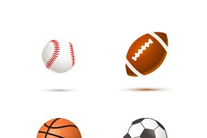 Set of realistic sport balls