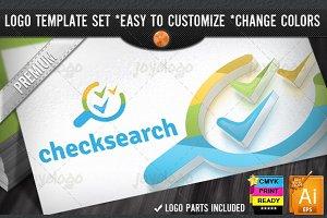 Pixel Checkmarks Search SEO Logo