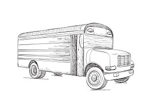 Transport. Hand Drawn Truck