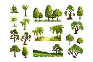 Trees vector icons set