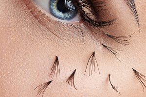 woman's eye with a falled lashes