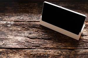 smartphone on a wooden background