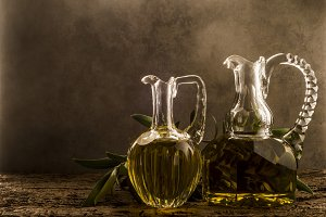 Olive oil, two vintage jars