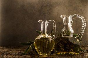 Olive oil, two vintage jars