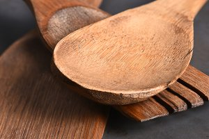 Wood Utensils Closeup
