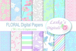 Digital Paper - Bright Floral Pastel