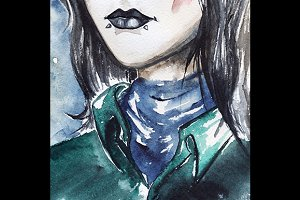 Aquarelle gothic freak girl portrait