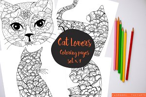 Hand drawn cat coloring pages x4