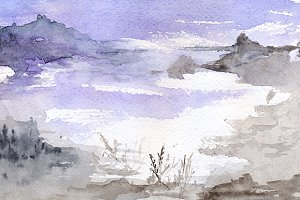 Watercolor violet lake landscape