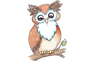 Cartoon animal owl on tree branch