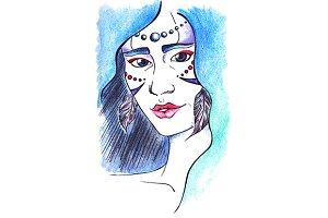 Watercolor wood girl portrait