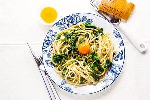 Italian pasta carbonara. vegetarian