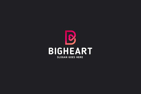 Big heart letter b logo template logo templates creative market big heart letter b logo template logos pronofoot35fo Image collections
