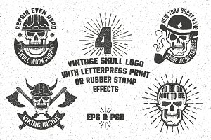 Skull logo with rubber stamp effect