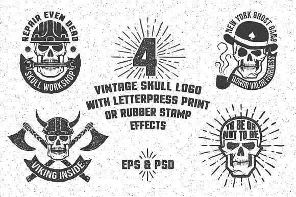 Skull Logo With Rubber Stamp Effect Templates Creative Market