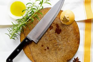 cutting board and and chef knife.