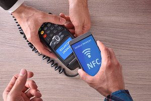 Paying with nfc top view