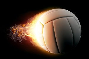 Volleyball in Fire on black backgrou