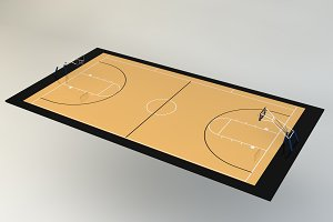 3D Illustration of Basketball Court