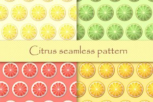Set citrus seamless patterns