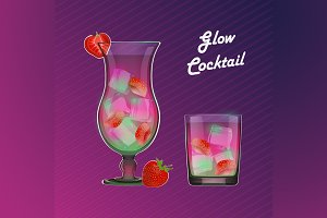 Vector illustration glow cocktails
