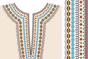 Neckline ethnic print