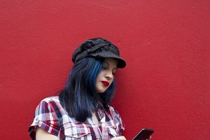 hipster woman with mobile