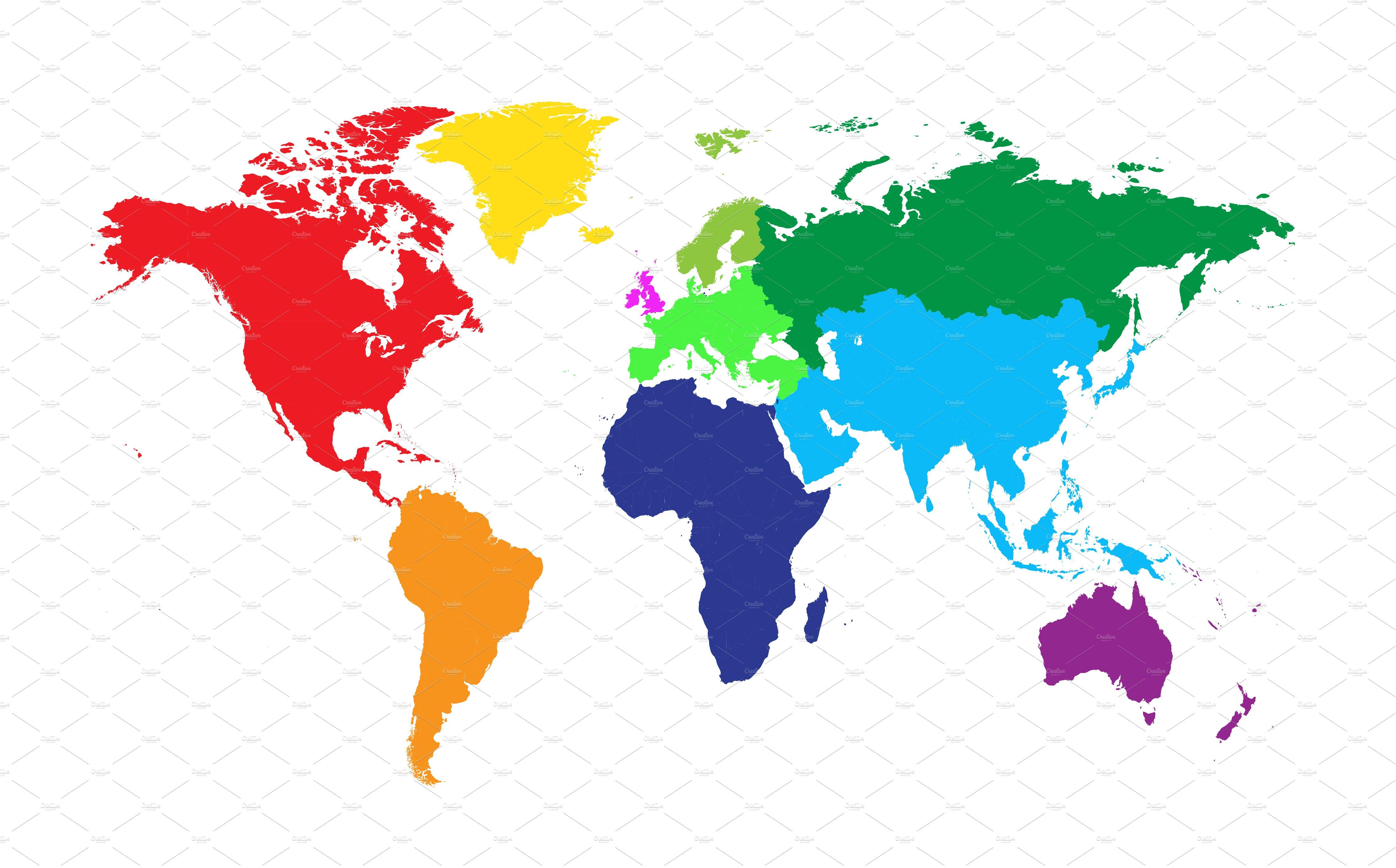 World map colored ~ Web Elements ~ Creative Market