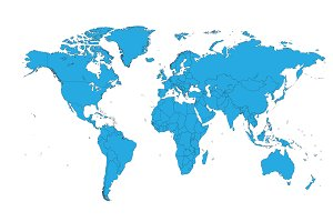 World map blue vector