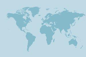 World map light blue flat