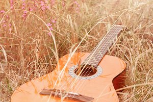 Spanish guitar on the grass