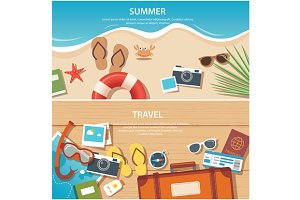 summer and travel flat banner