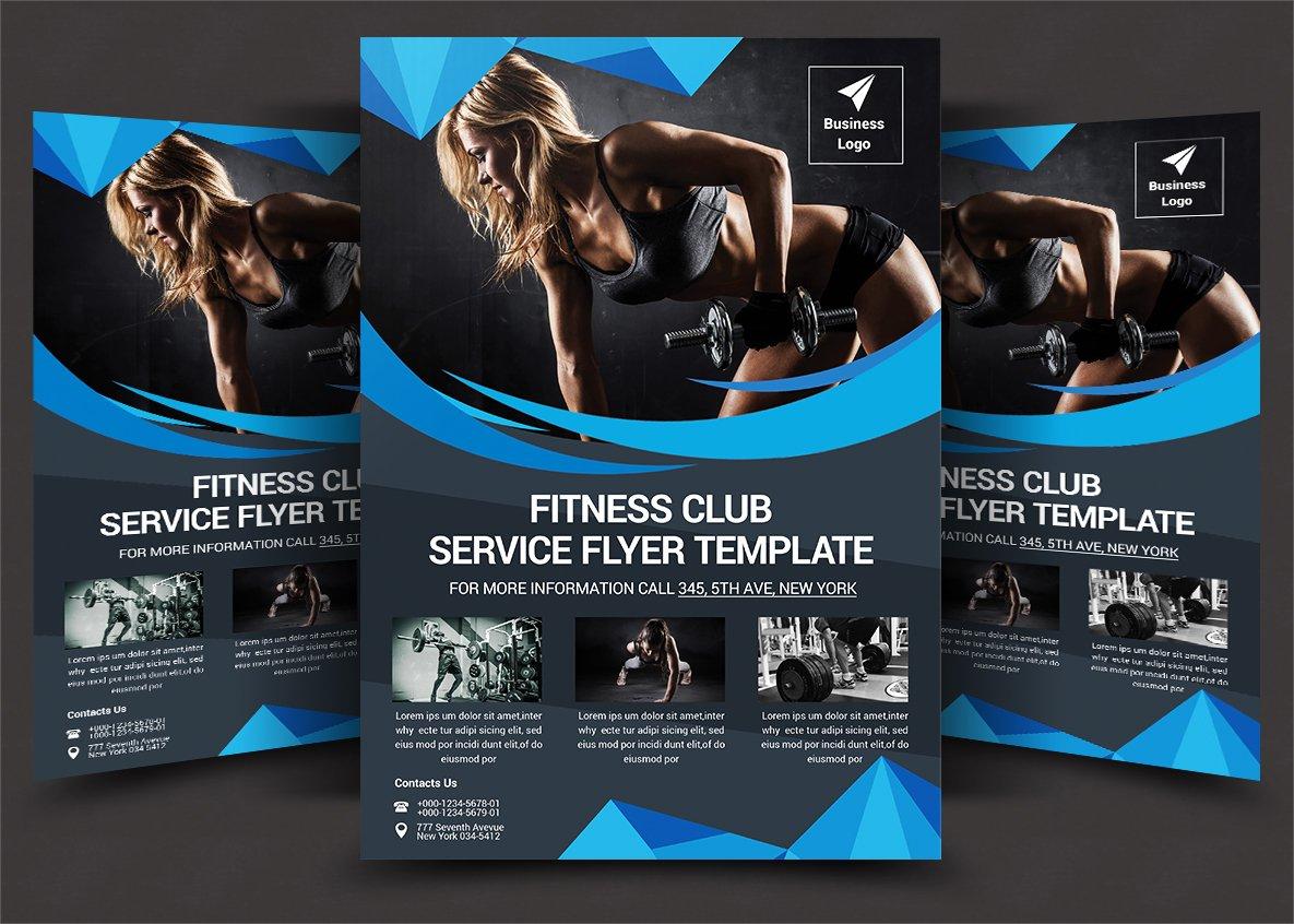 fitness flyer flyer templates creative market. Black Bedroom Furniture Sets. Home Design Ideas