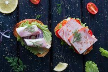 sandwiches with different fillings