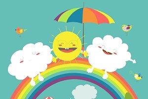 Rainbow,cloud and sun in the sky