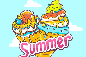 Summer ice creams + colorful pattern