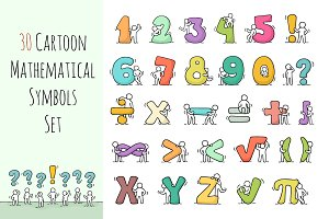 Cartoon mathematical set with People