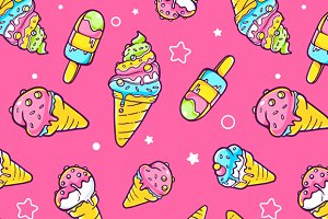 Set of patterns with ice creams