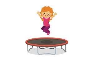 Happy girl jumping on trampoline