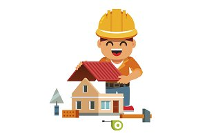 Young smiling house builder