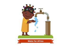 African girl washing hands