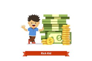 Boy leaning to a huge pile of money