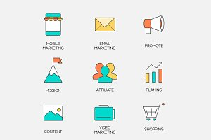 Business marketing color line icons