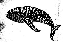 Whale silhouette with type design