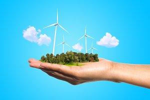 wind turbines on hand
